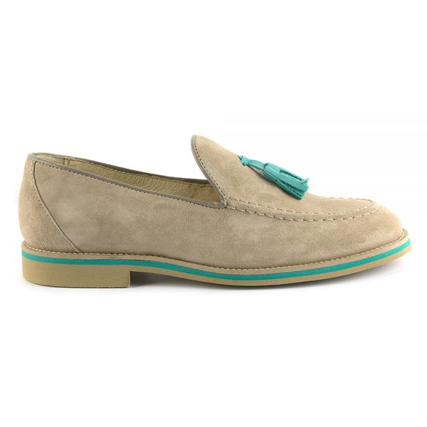 RYG Shoes - Lisbon Beige and Aqua Loafers