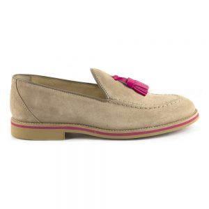 RYG Shoes - Lisbon beige and fuxia loafers