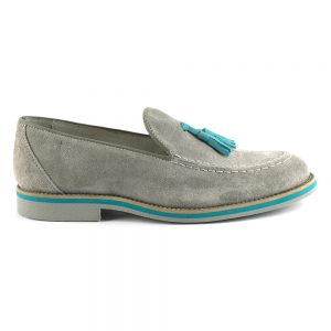 RYG Shoes - Lisbon grey and aqua loafers.