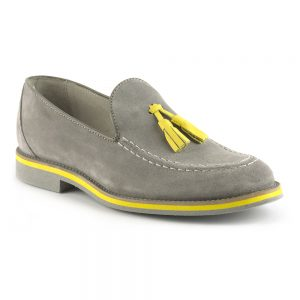 RYG Shoes - Lisbon Grey and Yellow Loafers